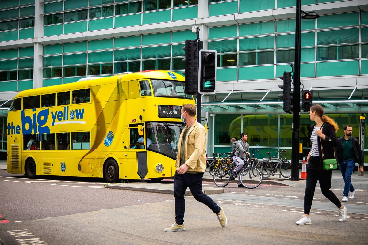 yellow london bus